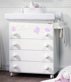 Комод пеленальный Micuna Juliette Luxe белый/розовый (B-1551)