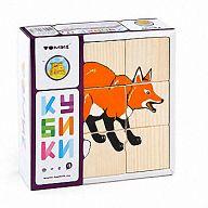 """Деревянные кубики """"Сложи рисунок. Животные леса"""" (9 элементов)"""