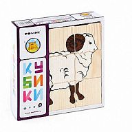"""Деревянные кубики """"Сложи рисунок. Домашние животные"""" (9 элементов)"""
