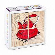 """Деревянные кубики """"Сложи рисунок. Посуда"""" (4 элемента)"""