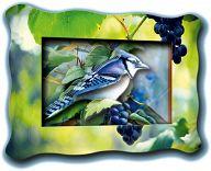 """Объемная картинка в рамке """"Хохлатка на винограде"""" (11 деталей)"""
