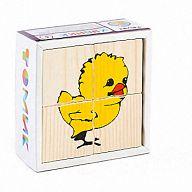 """Деревянные кубики """"Сложи рисунок. Животные"""" (4 элемента)"""