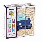 """Деревянные кубики """"Сложи рисунок. Транспорт"""" (9 элементов)"""
