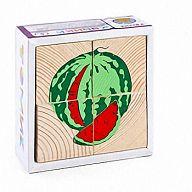 """Деревянные кубики """"Сложи рисунок. Фрукты-ягоды"""" (4 элемента)"""