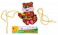 """Деревянная игрушка-шнуровка """"Мишка с ягодками"""""""