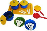 """Набор игрушечной посуды с подносом на 4 персоны """"Хозяюшка"""""""