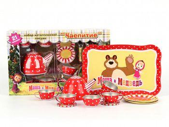 """Набор игрушечной металлической посуды """"Маша и Медведь. Чаепитие"""" (GT6256)"""