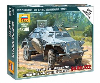 """Сборная модель """"Великая Отечественная. Немецкий легкий бронеавтомобиль Sd.Kfz 222"""" (Звезда 6157)"""
