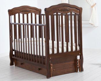 """Кровать с маятником 120x60 Гандылян """"Шарлотта"""" орех (К-2003-2мо)"""