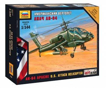 """Сборная модель """"Hot War. Американский вертолет АН-64 """"Апач"""" (Звезда 7408)"""