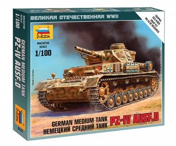 """Сборная модель """"Великая Отечественная. Немецкий средний танк Pz-IV AUSF.D"""" (Звезда 6151)"""