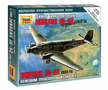 """Сборная модель """"Великая Отечественная. Немецкий транспортный самолет Юнкерс Ju-52 1932-45"""" (Звезда 6139)"""