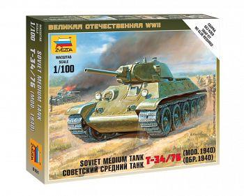 """Сборная модель """"Великая Отечественная. Советский средний танк Т-34/76 1940"""" (Звезда 6101)"""
