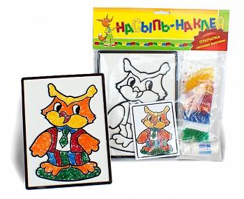 """Набор для создания открытки """"Насыпь-Наклей. Сова"""" (Эра С-146-57238307)"""
