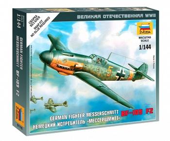 """Сборная модель """"Великая Отечественная. Немецкий истребитель BF-109 F2 """"Мессершмитт"""" (Звезда 6116)"""