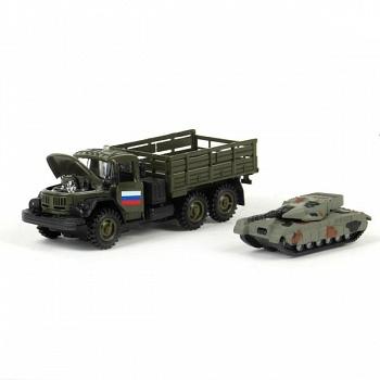 """Машина металлическая инерционная """"ЗИЛ 131. Военный с танком"""" (Технопарк CT10-001+G1(WB))"""