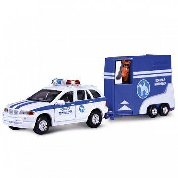 """Машина металлическая инерционная """"Конная полиция с фургоном и лошадкой"""" (Технопарк CT10-027-1)"""