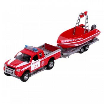 """Машина металлическая инерционная с лодкой """"Пожарная служба"""" (Технопарк SL767BP-SB-F(SL767WB-SB-F))"""