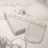 Полотенце-уголок Funnababy Lovely Bear Cream + варежка