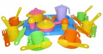 """Набор игрушечной посуды с подносом на 6 персон """"Настенька"""" (Полесье 3971)"""