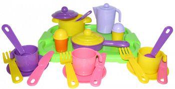 """Набор игрушечной посуды с подносом на 3 персоны """"Настенька"""" (Полесье 3957)"""