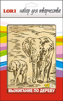"""Выжигание по дереву """"Слоны на прогулке"""" (Lori Вр-029)"""