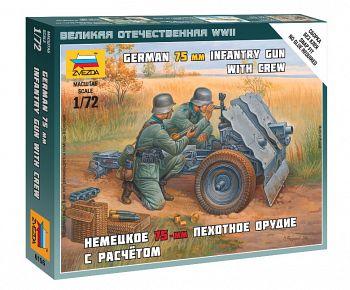"""Набор миниатюр """"Великая Отечественная. Немецкое 75-мм пехотное орудие с расчетом"""" (Звезда 6156)"""