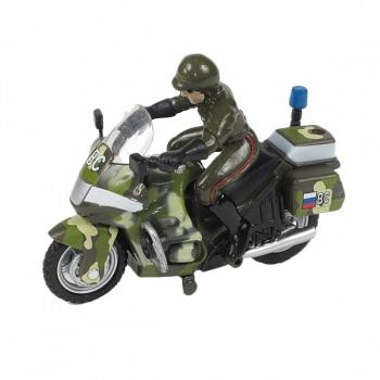 """Мотоцикл металлический инерционный с фигуркой """"Военный"""" (Технопарк CT-1247-1)"""