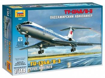 """Сборная модель """"Пассажирский авиалайнер Ту-134А/Б-3"""" (Звезда 7007)"""