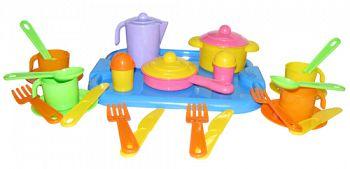 """Набор игрушечной посуды с подносом на 4 персоны """"Настенька"""" (Полесье 3964)"""