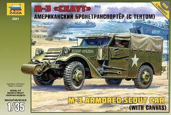"""Сборная модель """"Американский бронетранспортер с тентом М3 """"Скаут"""" (Звезда 3581)"""
