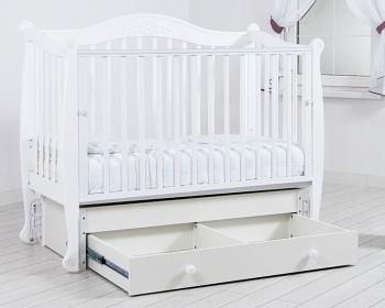 """Кровать с маятником 120x60 Гандылян """"Моника"""" белый (К-2002-20мб)"""