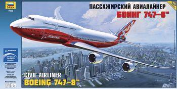 """Сборная модель """"Пассажирский авиалайнер Боинг 747-8"""" (Звезда 7010)"""