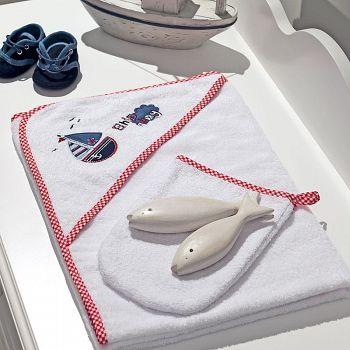 Полотенце-уголок Funnababy Marine + варежка
