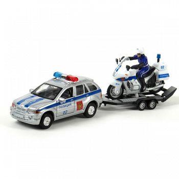 """Машина металлическая инерционная с мотоциклом """"Полиция"""" (Технопарк CT11-313)"""