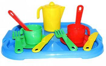 """Набор игрушечной посуды с подносом на 2 персоны """"Анюта"""" (Полесье 3865)"""