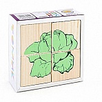"""Деревянные кубики """"Сложи рисунок. Овощи"""" (4 элемента)"""