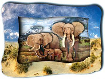 """Объемная картинка """"Слоны на прогулке"""" (Vizzle 0151)"""