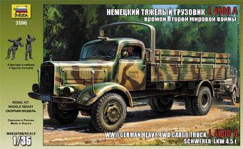 """Сборная модель """"Немецкий тяжелый грузовик L 4500A времен Второй Мировой Войны"""" (Звезда 3596)"""