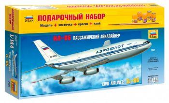 """Сборная модель """"Подарочный набор. Пассажирский авиалайнер Ил-86"""" (Звезда 7001PN)"""