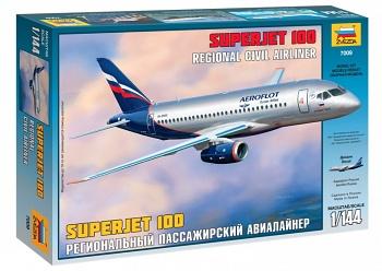 """Сборная модель """"Региональный пассажирский авиалайнер Superjet 100"""" (Звезда 7009)"""