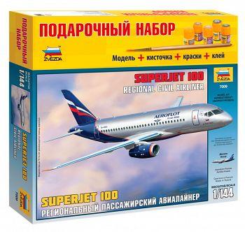"""Сборная модель """"Подарочный набор. Региональный пассажирский авиалайнер Superjet 100"""" (Звезда 7009PN)"""
