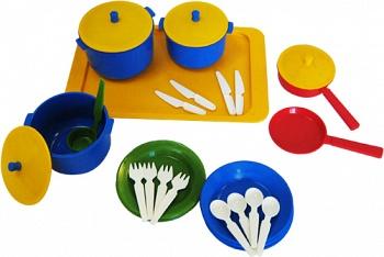 """Набор игрушечной посуды с подносом на 4 персоны """"Хозяюшка"""" (Пластмастер 21005)"""