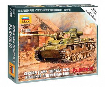 """Сборная модель """"Великая Отечественная. Немецкий огнеметный танк Pz.Kfw III"""" (Звезда 6162)"""